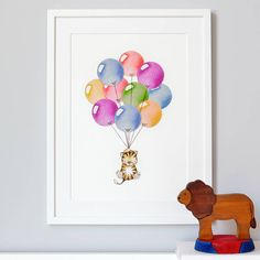 personalised bright balloon bunch print by daisy & bump nursery art | notonthehighstreet.com