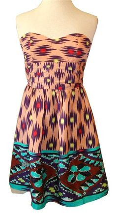 MM Couture: Strapless Pink/Multicolor Print Dress
