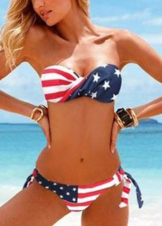 Free Shipping Flag Bikini Swimwear with Detachable Strap