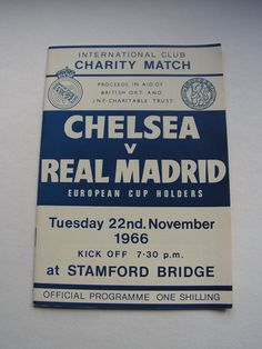 Vintage 1966 Chelsea Versus Real Madrid Football Soccer Programme International Club Charity Match by VintageBlackCatz on Etsy Real Madrid Football, Football Soccer, Chelsea Fc Wallpaper, Fundraising Games, Association Football, Most Popular Sports, European Cup, Stamford Bridge, Football Program