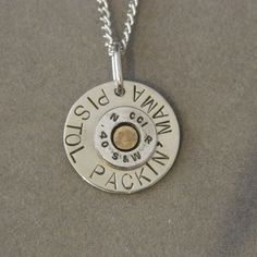 here's a necklace fit just for you! Says it's made with a real S&W bullet too. Bullet Casing Jewelry, Bullet Necklace, Washer Necklace, Bullet Art, Bullet Shell, Nickel Silver, Stamped Jewelry, Metal Stamping, Precious Metals