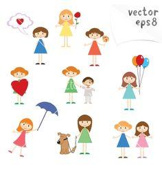 little-girls-vector-892759.jpg (380×400)