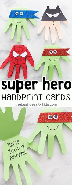 This Super Hero craft is easy and so fun to make! Make Spiderman, Batman, Ninja Turtle cards with handprints. Kids will love making these! #superhero #batman #spiderman #ninjaturtle  via @bestideaskids