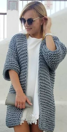 53 Sleek and Glamour Crochet Cardigan Pattern Ideas - Page 50 of 53 - Beauty Crochet Patterns! Cardigan Au Crochet, Crochet Coat, Crochet Jacket, Crochet Shawl, Crochet Clothes, Crochet Cardigan Pattern, Sweater Knitting Patterns, Crochet Patterns, Knit Fashion