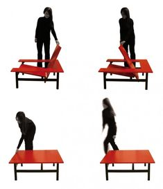 I think I could make this.  For everyday use it is a table.  When there are a lot of guests it becomes an added chair and opens up the space by removing the space it took up as a table