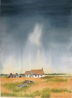 Stormy Sky in watercolour by Fan Jones inspired by Geoff Kersey