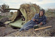 Camouflaged Soviet tank T-34-76. Stalingrad, autumn 1942