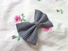 Navy & White Stripe Bow with Gold Heart Available in Medium ($7) and Large ($9)