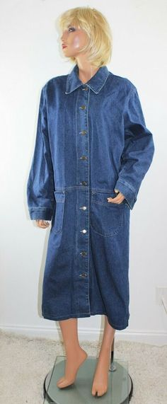 c09f30f2ad4 Vintage 80 s GOTCHA COVERED Blue Denim Duster Maxi Coat - Size Large   fashion  clothing