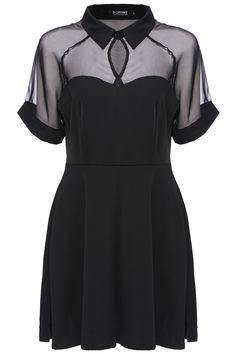 875ae47de2 ☆Romwe--Mesh Peak Collar Little Black Skater Dress. Black Chiffon Dress-