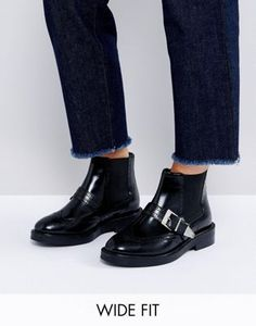 ASOS ANTHEM Wide Fit Premium Leather Ankle Boots