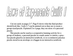 The Laws of Exponents Quit was created by Ginger Kay Hampton for an Algebra 1 classroom during the Exponent Rules unit.  This puzzle allows student...