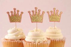 Gold Crown Cupcake Toppers - Set of 12 (birthday party, baby shower, fun pink party supplies) 12th Birthday, 1st Birthday Girls, Princess Birthday, Princess Party, 1st Birthday Parties, Princess Crowns, Birthday Crowns, Disney Princess, Crown Cupcake Toppers