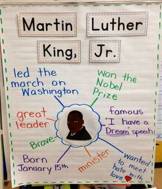 Super Ideas For Black History Art Elementary Martin Luther King Kindergarten Social Studies, Kindergarten Activities, Writing Activities, Student Teaching, Preschool, Teaching Ideas, Martin Luther Jr, Martin Luther King Quotes, Anchor Charts
