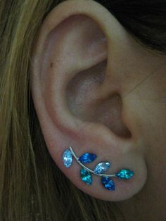 Ear Sweep Wrap Earring - with Swarovsky - Unique- The Blue Nr2 | blucky - Jewelry on ArtFire