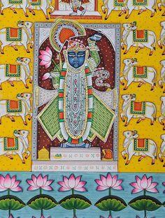 Pichwai Paintings, Indian Art Paintings, Madhubani Art, Madhubani Painting, Indian Folk Art, Indian Patterns, Hindu Deities, Indian Gods, Acrylic Colors