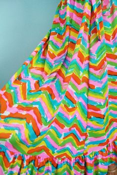 Vintage 70s Neon Rainbow Chevron Bow Skirt