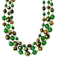 Gold-tone Green & Colorado Epoxy Stones 16in w/3in ext Necklace BF1765