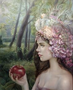 "Illustration by Maria Ilieva. - A woman, the apple, and the sin. - Board ""Art-Maria Ilieva"". -"