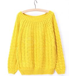 Concise Round Neck Solid Color Loose Fit Long Sleeve Cable-Knit Sweater For Women (BLUE,ONE SIZE) China Wholesale - Sammydress.com