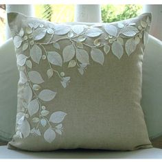 Linen Beauty - Throw Pillow Covers - 16x16 Inches Cotton Linen Pillow Cover with Mother of Pearl and Satin Embroidery