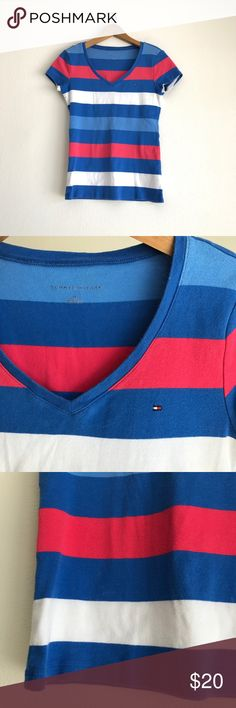 a0de07ba28 Tommy Hilfiger Striped V Neck Tee Size Small Gently used. Has blue, white,  and coral pink stripes. Short sleeve v-neck tee.