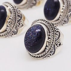 Orion - Blue Goldstone & Sterling Silver Ring – Druzy Dreams