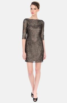Free shipping and returns on Kay Unger Metallic Sheath Dress at Nordstrom.com. Foiled embroidery lights up a smoky mesh cocktail dress. A slinky slip foundation leaves the boat neckline and elbow-length sleeves refreshingly sheer.