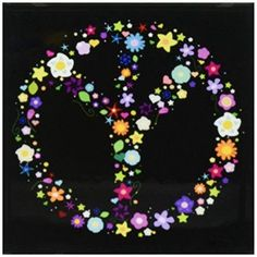 d52727bbf1 3dRose Floral Peace Symbol - Flowery hippy or hippie sign - flower power -  colorful flowers