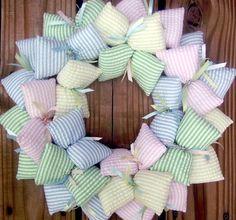 Pastel Themed Nursery Seersucker Fabric Wreath Decor