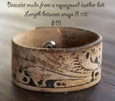 Bracelets leather belts and repurposed on pinterest Repurposed leather belts