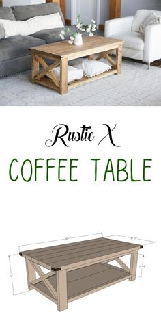 You can build a beautiful coffee table out of lumber!  For about $50 in materials, this solid wood coffee table with it's X detailing could be yours.  Our free plans include step by step diagrams, shopping lists and cut list - everything you need to get started. #anawhite #diy #coffeetable #farmhouse #diytable Diy Home Furniture, Diy Pallet Furniture, Handmade Furniture, Building Furniture, Automotive Furniture, Automotive Decor, Vintage Furniture, Furniture Design, X Coffee Table