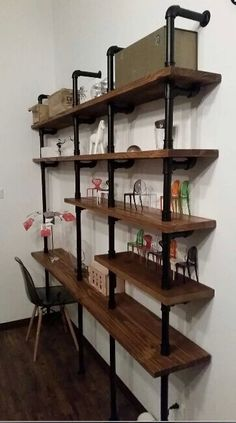 Pin on home Diy Pipe Shelves, Industrial Wall Shelves, Bookcase Shelves, Wood Shelves, Shelving, Home Office Space, Home Office Design, Interior Design Living Room, Dvd Regal