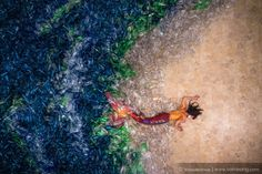 Photographer Von Wong features a mermaid washed ashore in a sea of 10,000 plastic bottles to raise awareness about plastic pollution.