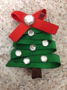 Christmas Tree Christmas Tree Ribbon Sculpture Hair Bows And  - Christmas Tree Hair Bows