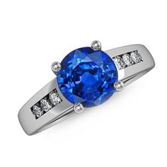 Angara.com: Round Sapphire and Diamond Cathedral Ring  #Angara
