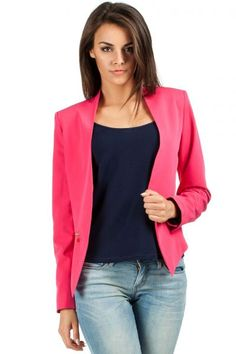 Pink Lady's jacket with asymmetric front Pink Ladies Jacket, Sleeves, Sweaters, Jackets, Tops, Blazers, Products, Fashion, Down Jackets