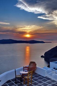 Enjoying the beautiful sunset from Imerovigli, Santorini ~ Greece
