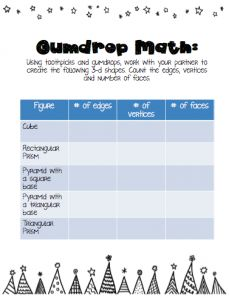 Gumdrop math activity! Great for all grades learning 3-d shapes...I fun reward for the kids!