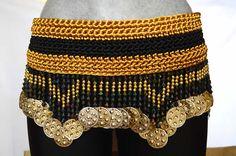 Cinto oro y negro. Ideal para la danza arabe tribal bellydance, Hecho en México. Danar Fashion.