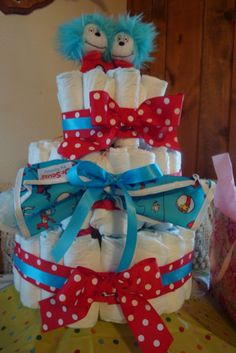Dr. Suess Baby Shower - Diaper Cake.....SUPER CUTE IDEA FOR TWINS!!!! ;)