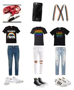 """Lgbt Outfits #1"" by ainsleybee ❤ liked on Polyvore featuring AMIRI, Topman, April 77, Converse, adidas and Native Union"