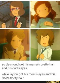 Layton's like Harry Potter! Mama's eyes and Papa's hair Layton Brothers Mystery Room, Nintendo, Pokemon, A Hat In Time, Brain Activities, Geek Out, Fire Emblem, Animal Crossing, Memes