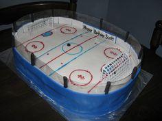 hockey rink cake 30 Birthday Cake, 10th Birthday, Birthday Ideas, Birthday Parties, Happy Birthday, Hockey Cakes, Hockey Party, Sport Cakes, Party Treats