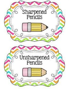 free chevron classroom labels with pictures   Chevron Pencil Bucket Labels