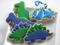 Dino cookies~              No source, expired Etsy listing, Blue Green dinosaur
