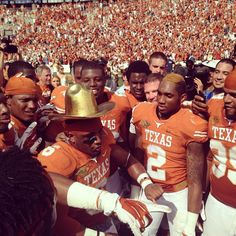 The Golden Hat looks good with burnt orange. Bringing the Gold back to Austin!
