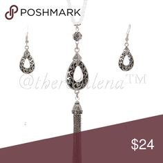 """Teardrop pendant w/Tassel and matching earrings Filigree Silver teardrop necklace with tassel, measuring 30"""" length and comes with matching earrings.  Both are intricately designed and makes a beautiful set to give as a gift for someone or to wear with your favorite outfit!   PRICE IS FIRM!!! 🌸 YOU MAY BUNDLE 2-3 ITEMS FOR A DISCOUNT!!🌸 TheresaLena Boutique Jewelry Necklaces"""