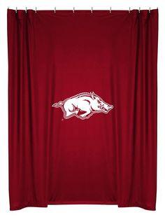 NCAA college fans enjoy your University of Arkansas Officially Licensed NCAA Tailgating gear. SHOWER CURTAIN ARKANSAS U