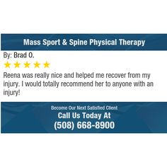 Reena was really nice and helped me recover from my injury. I would totally recommend her...
